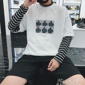 春秋季港風寬鬆長袖條紋打底衫男學生情侶拼接假兩件圓領T恤 奇思妙想屋