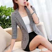 chic格子小西裝女韓版短款薄外套七分袖2021秋裝休閒復古修身西服 喜迎新春