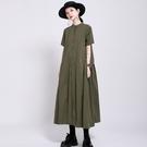 日系大擺襯衫式短袖洋裝連身裙【13-16-81398-21】ibella 艾貝拉