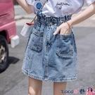 熱賣牛仔短裙 2021春夏季新款高腰牛仔半身裙女百搭復古a字大碼胖mm包臀短裙子 coco