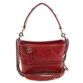 【奢華時尚】CHANEL 紅色牛皮金銀雙色鍊帶肩背斜背gabrielle hobo流浪包(九八成新)#24635