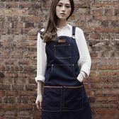 高端圍裙訂製logo牛仔圍裙 咖啡師烘焙美容美甲畫畫花藝紋身工作服