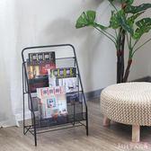 雜誌架 落地鐵藝書報架繪本收納雜志架北歐創意報紙展示架金屬書架LB1648【Rose中大尺碼】