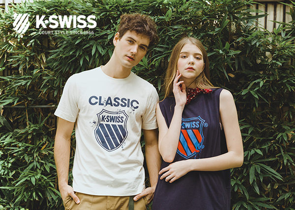 K-SWISS Half Sleeve T-Shirt印花短袖T恤-女-白