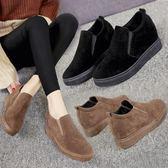 女鞋秋鞋新款秋季韓版內增高鬆糕鞋厚底復古英倫風一腳蹬單鞋
