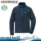 【Mont-Bell 日本 童 CHAMEECE PULL 刷毛半門襟《淺靛藍》】1104097/高領/彈性上衣/保暖衣