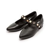 ~Fair Lady ~金屬釦繞帶尖頭低跟鞋黑