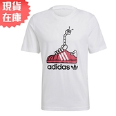 【現貨】Adidas ORIGINALS WORM SHOE 男裝 短袖 T恤 休閒 鞋帶毛毛蟲 純棉 白【運動世界】GN2155