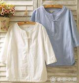 春夏棉麻女裝襯衫七分袖亞麻盤扣長袖寬鬆民族風短袖T恤上衣 優家小鋪