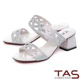 TAS 水鑽波浪曲線粗跟涼拖鞋-亮麗白