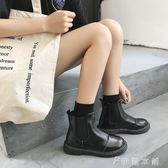 馬丁靴  鞋子女英倫風短靴皮面粗跟套腳短筒切爾西靴學院風學生馬丁靴女 伊鞋本鋪