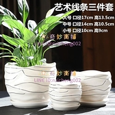 花盆陶瓷帶托盤簡約綠蘿創意個性家用小多肉花盆【奇妙商舖】