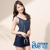 【Summer Love 夏之戀】海軍風連身褲二件式泳衣(E16799)