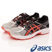 【ASICS】運動童鞋-流線漸層黑透氣運動款-707N-9306黑橘(中童)