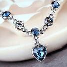 頂級奧地利水晶優雅湛藍鑲鑽手鍊 18K真白金墨藍 (0474)