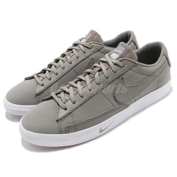 Nike 休閒鞋 Blazer Low PRM 綠 白 皮革鞋面 運動鞋 男鞋【PUMP306】 AT6163-002