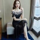 新品一字肩蕾絲洋裝女中長款顯瘦荷葉邊會魚尾裙