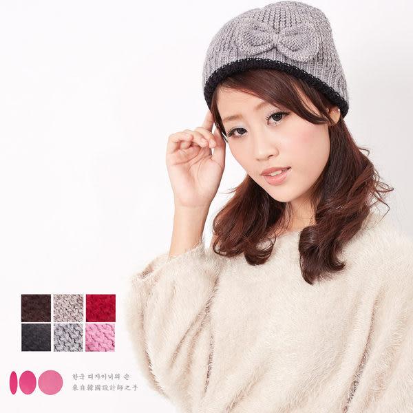 【MIT台灣製】台灣製 雙層貝蕾蝴蝶結+發熱紗 針織毛線帽(六色)