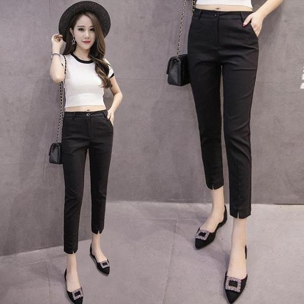 西裝褲 西裝褲女夏季新款九分休閒西褲黑色褲子小個子八分褲修身小腳女褲 歐歐