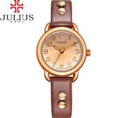 JULIUS 聚利時 搖滾甜心鉚釘錶帶腕錶-深咖啡色/28mm 【JA-933E】
