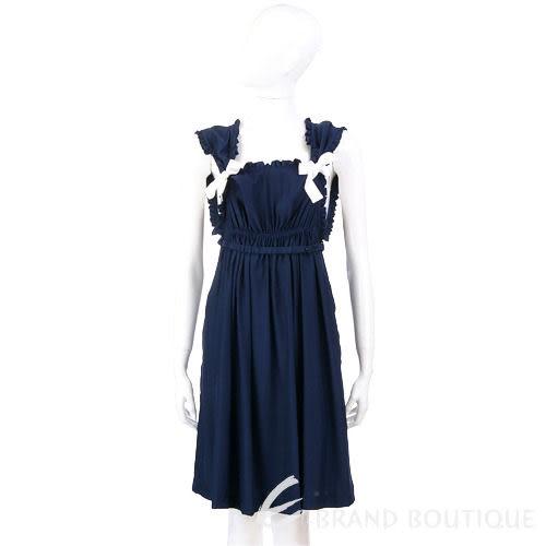 PAOLA FRANI 深藍色皺褶蝴蝶結飾洋裝 0910203-34