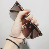 新款T字眼鏡茶色海洋片偏光半框墨鏡男女潮太陽鏡情侶 小巨蛋之家