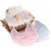 新生兒口水巾 寶寶系帶圍嘴純棉6層紗布嬰兒圍兜花朵形飯兜喂奶巾