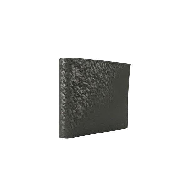 【PRADA】素面防刮牛皮二折8卡短夾 ( 灰色) 2M0513 PN9 F0048