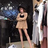 夏季時尚氣質中長款西裝外套 不規則半身裙褲兩件套裝女