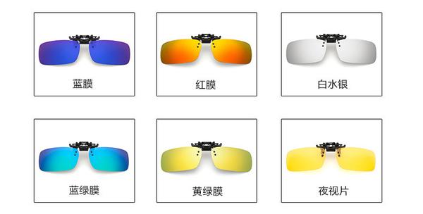 鍍膜炫彩偏光太陽眼鏡夾片 男女司機開車可上翻墨鏡夾片 紫外線防強光掛鏡