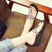 人字拖人字拖女新款夏季時尚外穿沙灘鞋坡跟厚底涼拖夾腳趾防滑拖鞋麥吉良品