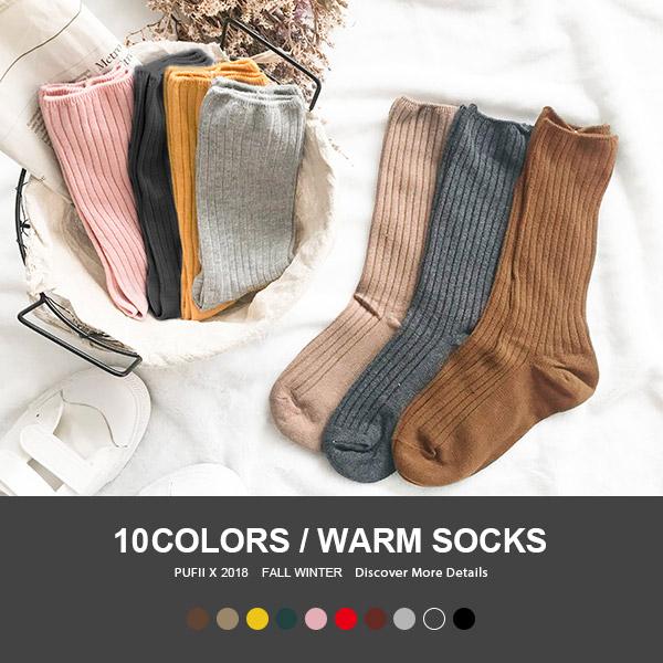 現貨◆PUFII-短襪 純色質感坑條針織中筒短襪多色任選 10色-1101 秋【CP15478】