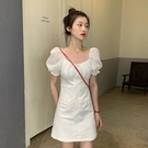 法式洋裝 白色連身裙女夏裙子法式方領設計感 氣質泡泡袖A字裙-Ballet朵朵