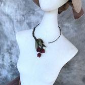 短款鎖骨鍊 個性簡約布藝花朵優雅外套頸部配飾品女 YY1329『東京衣社』