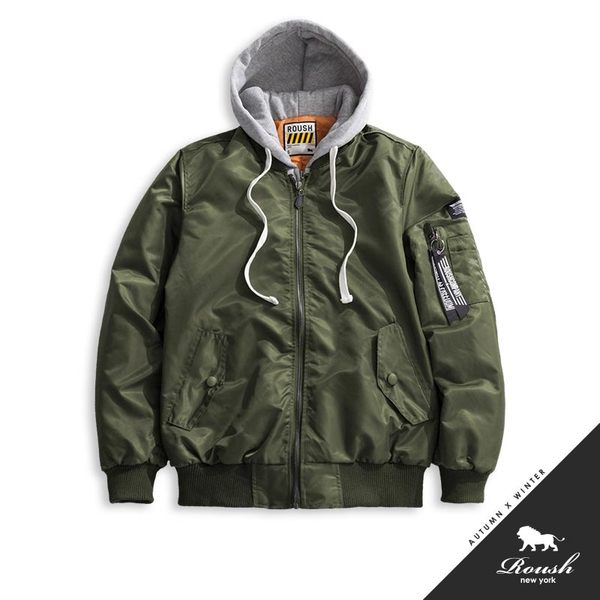 【Roush】 MA-1灰色連帽鋪棉飛行外套(帽不可拆) -【715605】