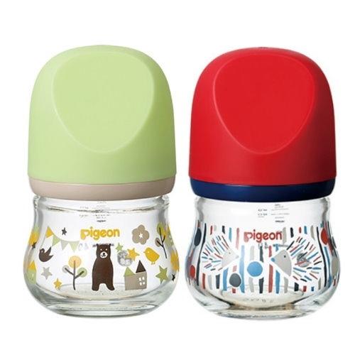 貝親 Pigeon 設計款母乳實感玻璃奶瓶80ml(熊/綠)