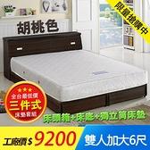 【IKHOUSE】三件式獨立筒彈簧床墊組-床頭箱+床底+獨立筒彈簧床墊-加大雙人6尺