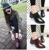 英倫風粗跟小皮鞋漆皮系帶複古牛津鞋尖頭中跟女學院風黑色小單鞋 時尚潮流
