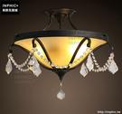 INPHIC- 復古水晶玻璃田園藝術鐵藝美式吸頂燈餐廳陽臺過道半吸頂燈_S197C