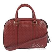 茱麗葉精品【全新現貨】GUCCI 510286 雙G緹花皮革壓紋兩用保齡球包.紅 大