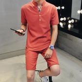 男士運動休閒服小伙亞麻短袖T恤兩件套夏季帥氣薄款套裝 DN8844【野之旅】