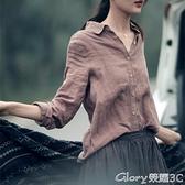 棉麻上衣懷舊襯衫  打底女休閒長袖寬鬆棉麻上衣襯衣女 加大碼榮耀上新