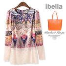 5折-平價時尚蕾絲上衣復古印花絲緞拼接蕾絲短版上衣 預購 ibella 【70-3020】