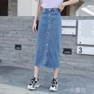 牛仔半身裙女a型單排扣新款修身高腰中長款包臀開叉一步黑色長裙 一米陽光