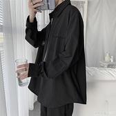 黑色襯衫男長袖港風日系韓版潮流帥氣休閑工裝襯衣男士寬松外套男 蘿莉小腳丫