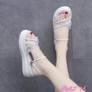 兩穿涼鞋兩穿涼鞋2021年新款女夏季學生鬆糕厚底時尚仙女風超火時裝涼拖鞋 JUST M