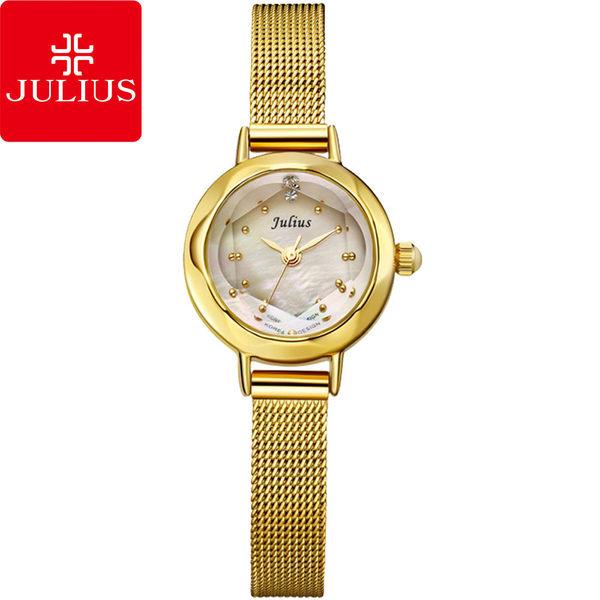 JULIUS 聚利時 氣質名媛貝殼鏡面復古腕表-金色/22mm 【JA-482G】