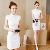 新款夏裝日常盤扣旗袍少女洋裝白色復古時尚修身顯瘦蕾絲裙 卡布奇诺