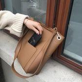 包包女新款韓版簡約百搭大容量水桶包休閒斜背單肩包女大包潮 千惠衣屋