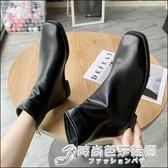 韓國東大門 ins潮方頭裸靴後拉錬短筒低跟瘦瘦靴復古馬丁靴短靴女 時尚芭莎